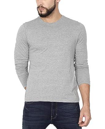 Urba Classics Men's Cotton Full Sleeves Grey Plain Round Neck T Shirt(UC1118)