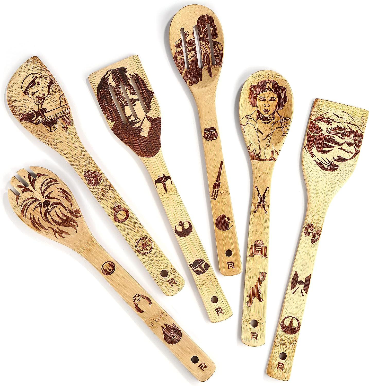 Riveira Organic Wooden Spoons for Cooking Utensils Set 6-Piece Star War Gifts Kitchen Utensils Spatulas for Nonstick Cookware Gift House Warming Presents