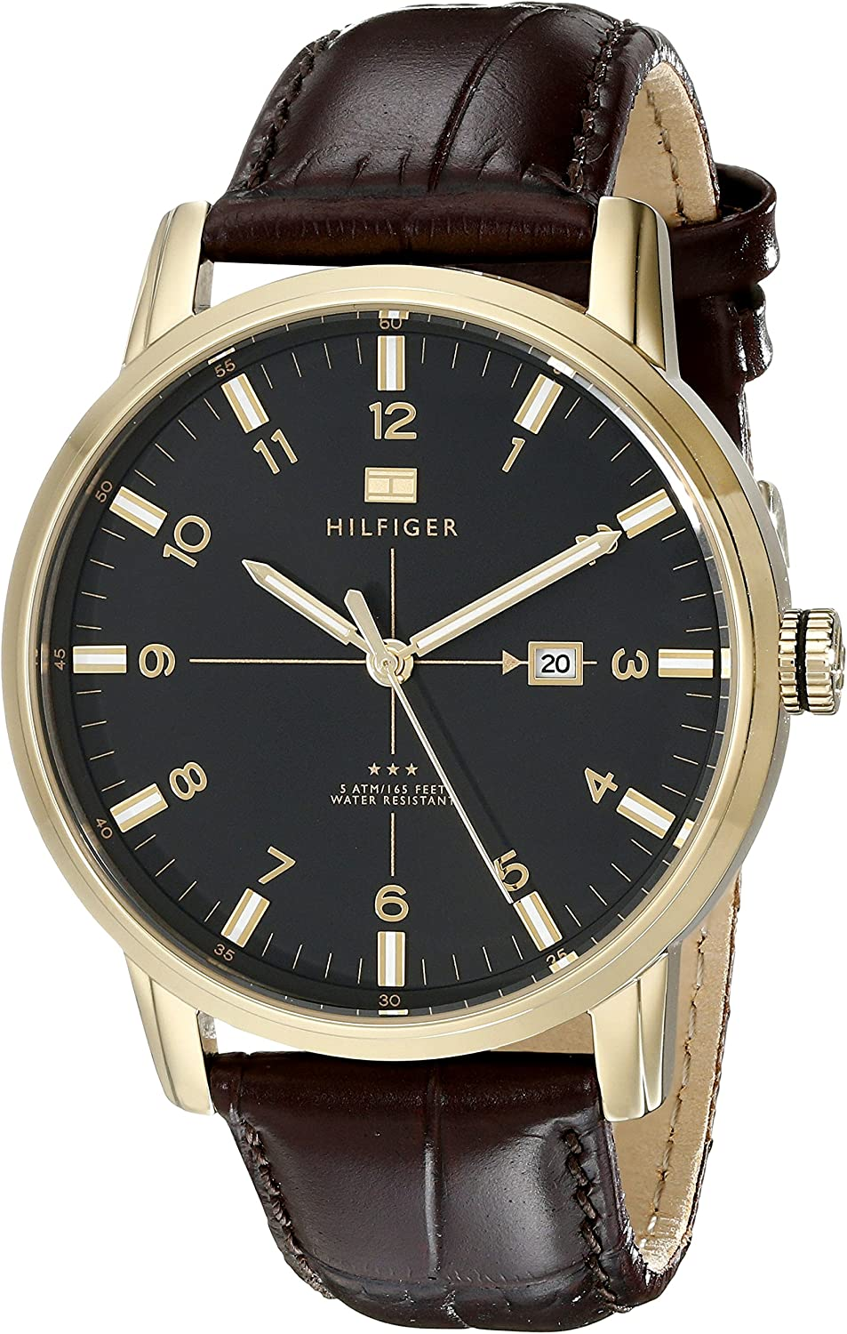 Anemone Modificare Cinematica  Tommy Hilfiger Men's 1710329 Casual Sport 3-Hand Brown Croco Leather Strap  and Gold-Plated Case Watch: Tommy Hilfiger: Amazon.ca: Watches