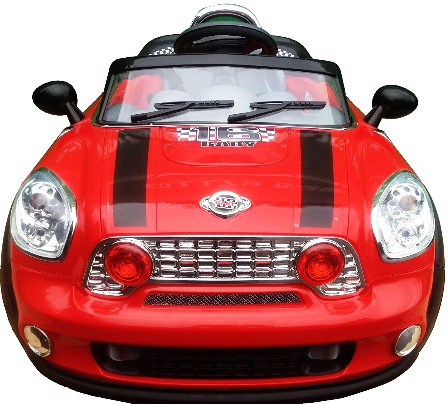 new design kids ride on 12v twin motors red mini cooper style rechargeable electric car parental remote control soft leather seat battery capacity