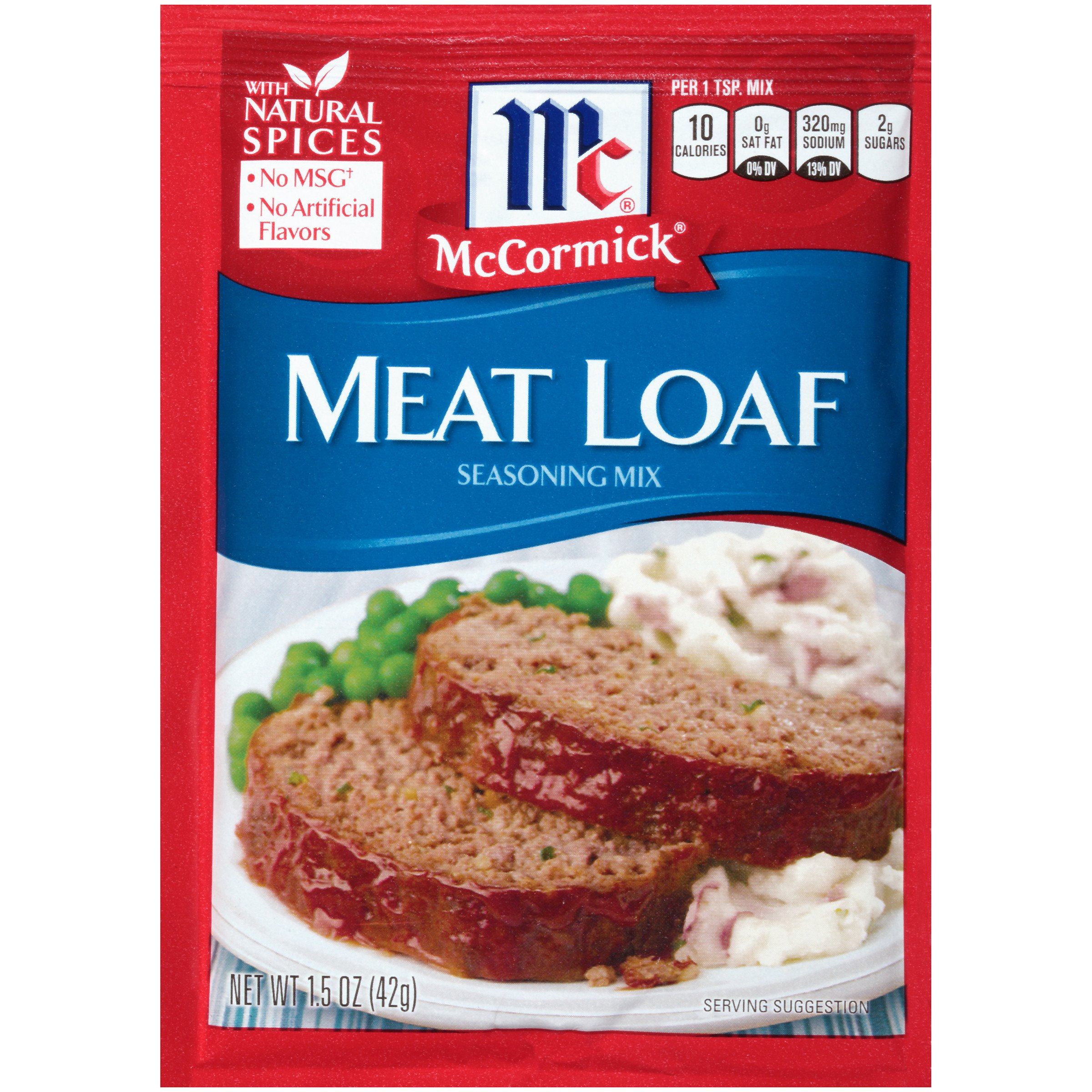 McCormick Meat Loaf Seasoning Mix, 1.5 oz, Delicious Blend of Onion, Paprika, Basil, Mustard, Sage, Garlic and Black Pepper, Works Great with Ground Beef or Turkey