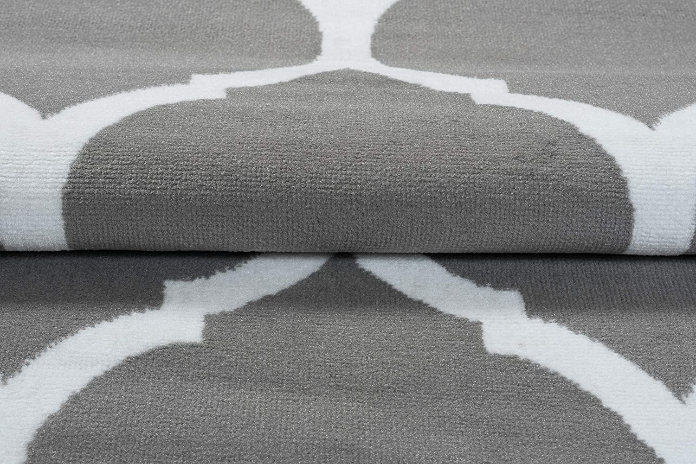 Tapiso Luxury Teppich Kurzflor Kurzflor Kurzflor Modern Marokkanisch Geometrisch Kleeblatt Gitter Muster Hellgrau Weiss Wohnzimmer ÖKOTEX 160 x 220 cm B07JPJ3SJT Teppiche 8cd9d5