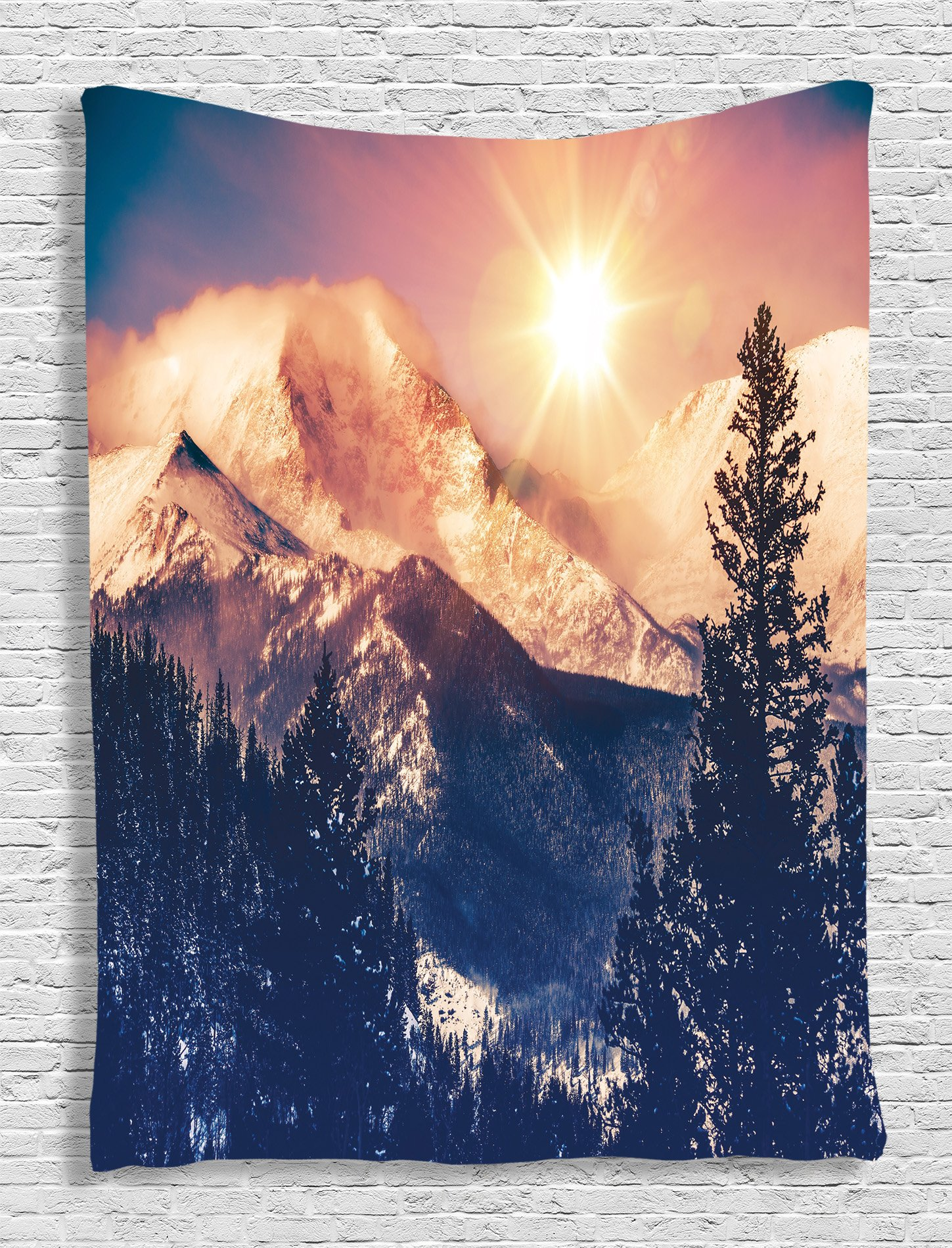 Ambesonne USA Nature Decor Collection, Mountains in Coloradao Bright Sun Snowy Hill View Print, Bedroom Living Kids Girls Boys Room Dorm Accessories Wall Hanging Tapestry, Blue White Black