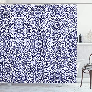 Ambesonne Indigo Shower Curtain, Mandala Pattern Little Blooms with Hearts Russian Style Pattern Print, Cloth Fabric Bathroom Decor Set with Hooks, 70