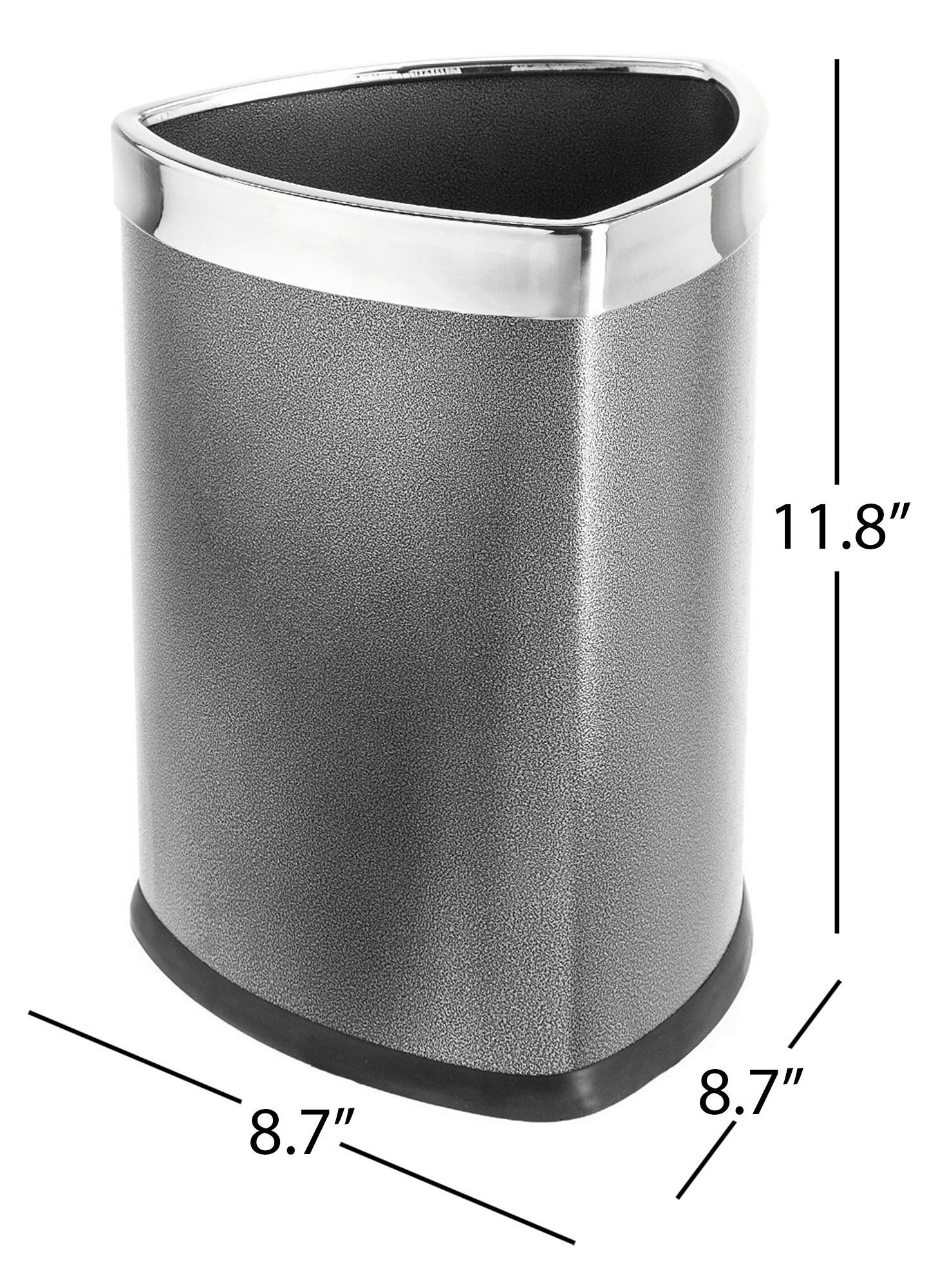 Bennett Magnificent Designed''Triangle Shape'' Wastebasket, Small Office Open Top Metal Trash Can, (Grey)