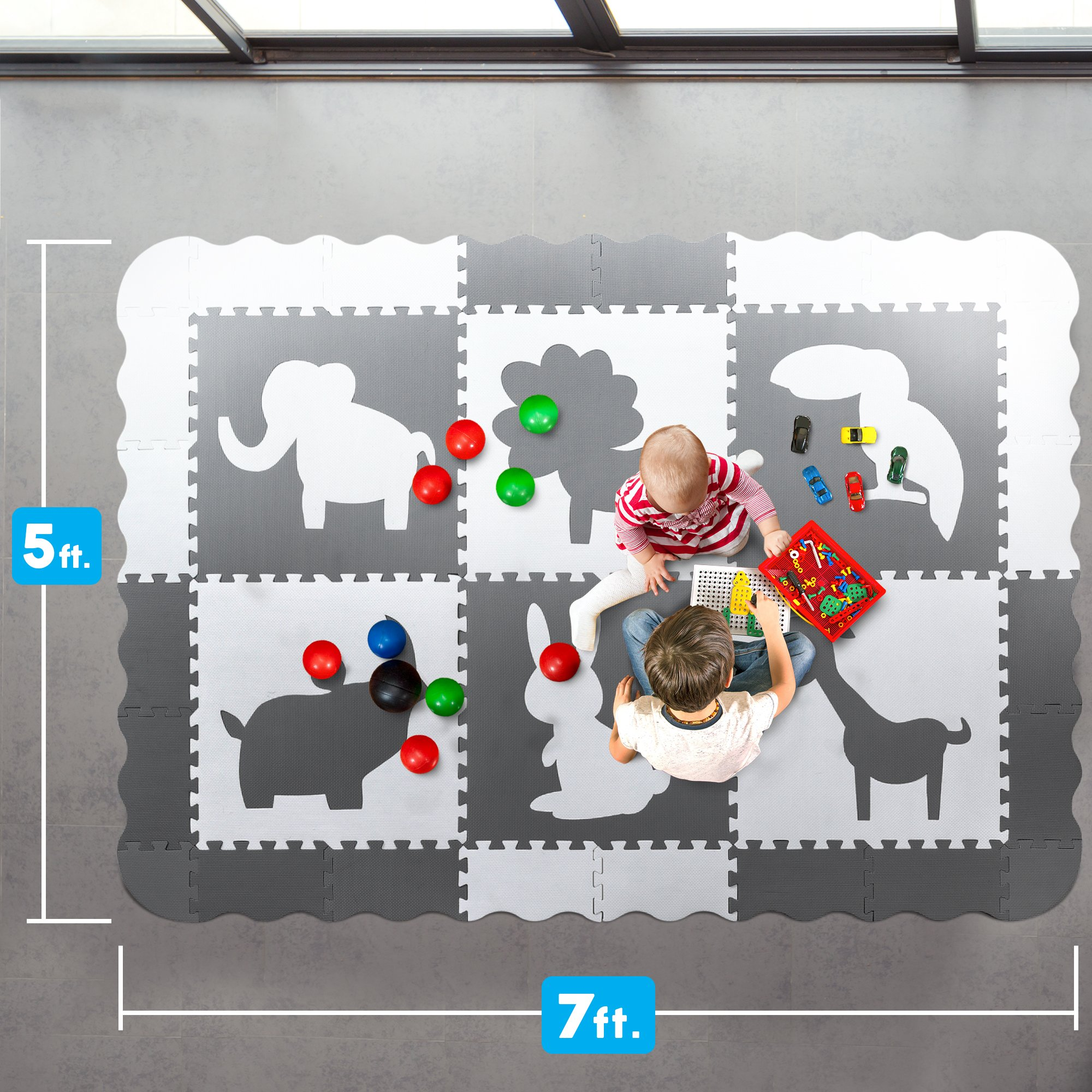 Large (5x7') Baby Play Mat with Interlocking Foam Floor Tiles. Neutral, Non Toxic Baby Playmat for Nursery, Playroom or Living Room (Grey and White) by Wee Giggles (Image #6)