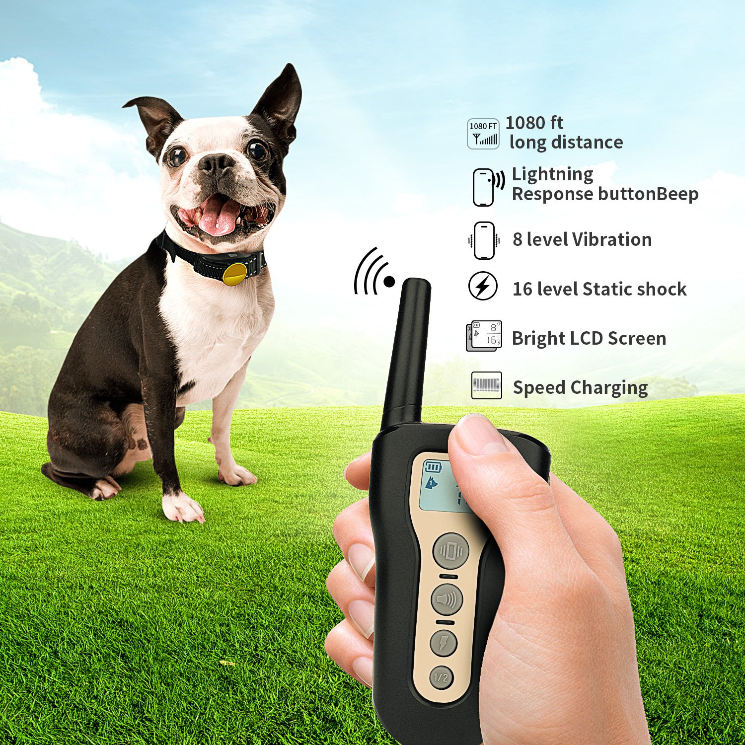 PETDIARY 2018 New Remote and Rechargeable Safe Sport Dog Training Collar with IPX7 Waterproof, Training 2 dogs with Vibration/Beep/Static Shock for Small Medium and Large Dogs