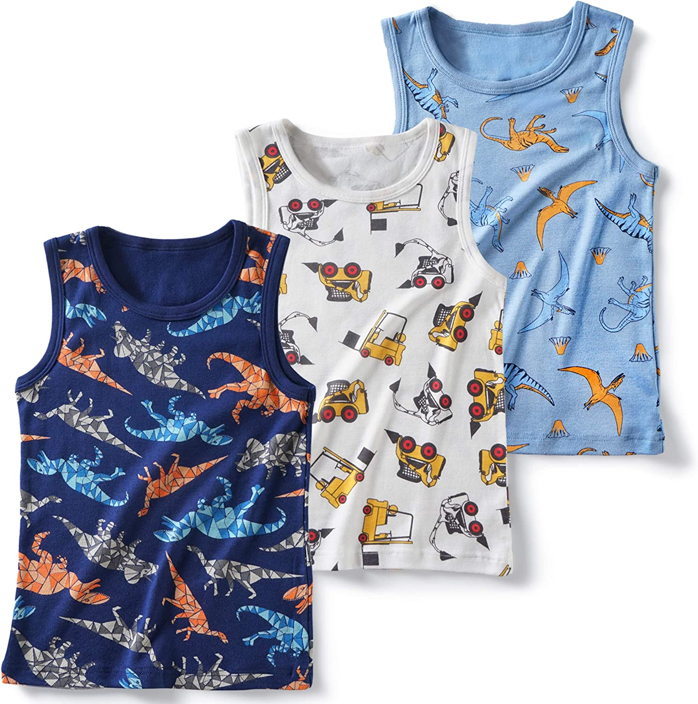 Evercute Baby Toddler Boys Tank Tops 3-4 Pack 100/% Cotton Dianosaurs Sharks Transport Sleeveless Shirts for Little Boys