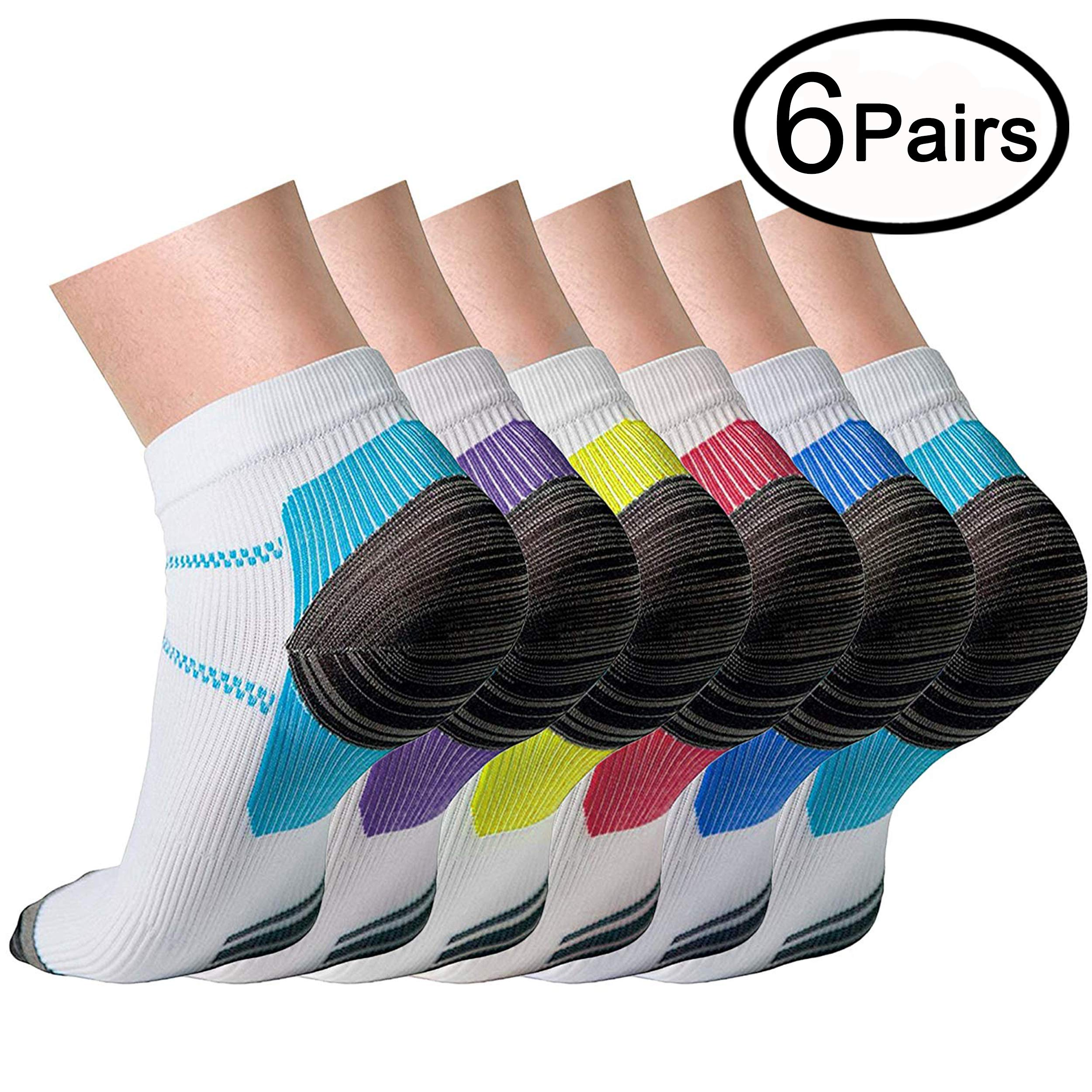 Compression Socks (6 Pairs),15-20 mmhg is BEST Athletic & Medical for Men & Women, Running, Flight, Travel, Nurses - Boost Performance, Blood Circulation & Recovery (Small/Medium, 6 Pairs)