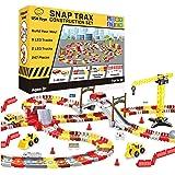 USA Toyz LED Race Tracks and LED Toy Trucks Construction Set - 247pk STEM Building Bendable Construction Tracks Set with 2 Li