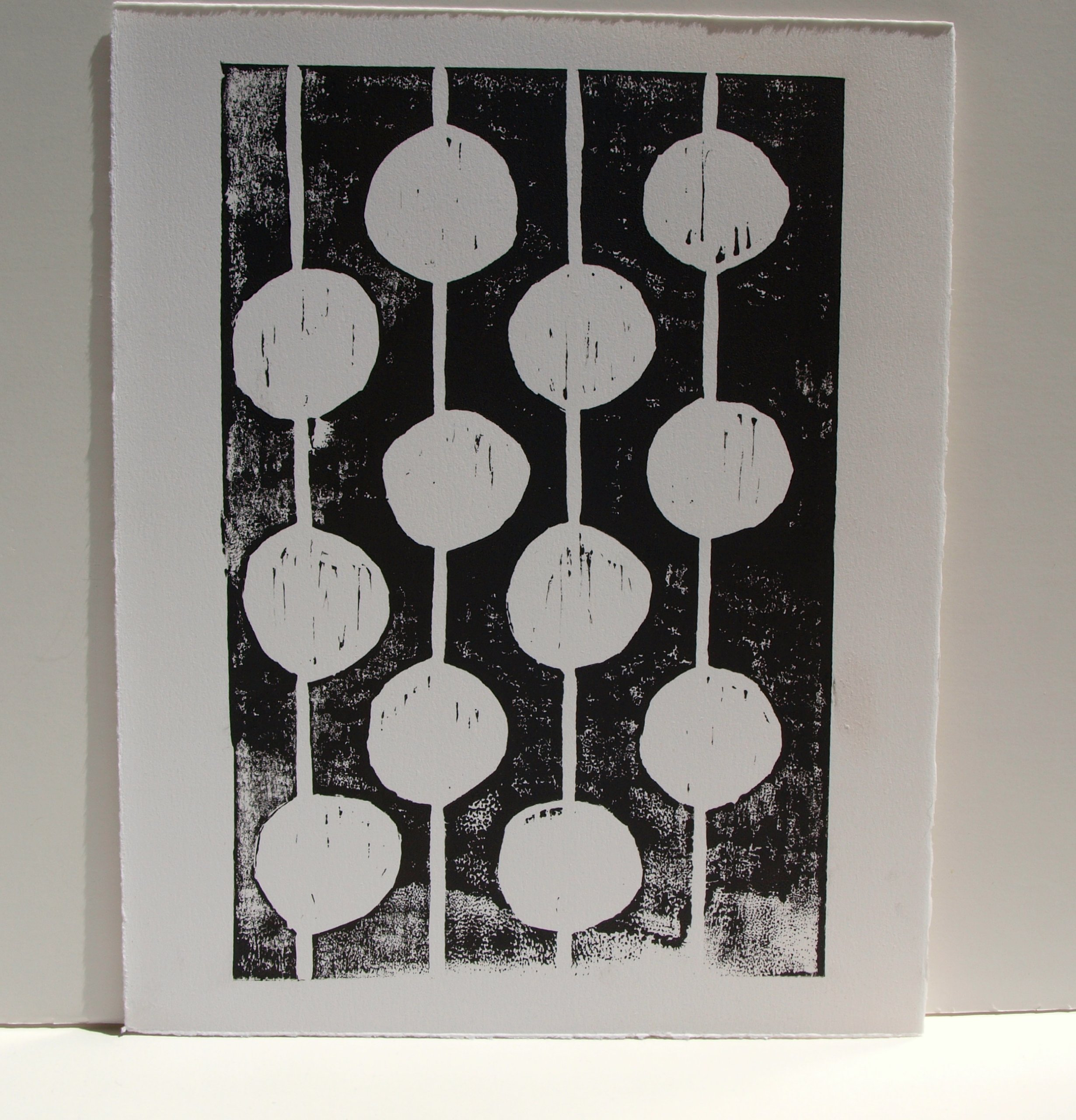 Bulbs Black and White Linocut by