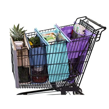 Lotus Trolley Bags v3 -set of 4 -w/LRG COOLER Bag & Egg/Wine holder! Reusable Grocery Cart Bags sized for USA. Eco-friendly 4-Bag Grocery Tote.100% Qlty GUARANTEE (V 3.0)