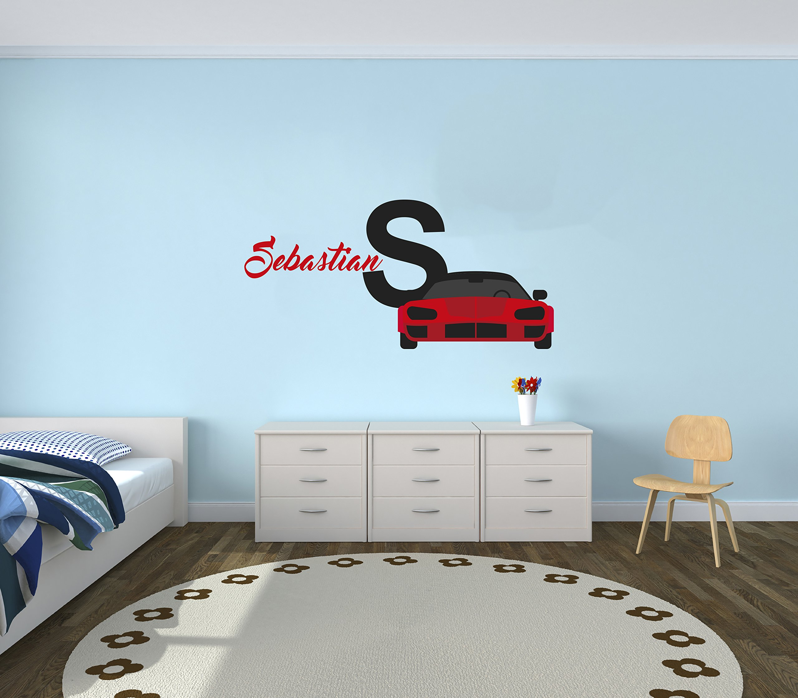Custom Name Sport Car - Luxury Best Seller Series - Baby Boy Decoration - Mural Wall Decal Sticker For Home Interior Decoration Car Laptop (AM) (Wide 22'' x 10'' Height)