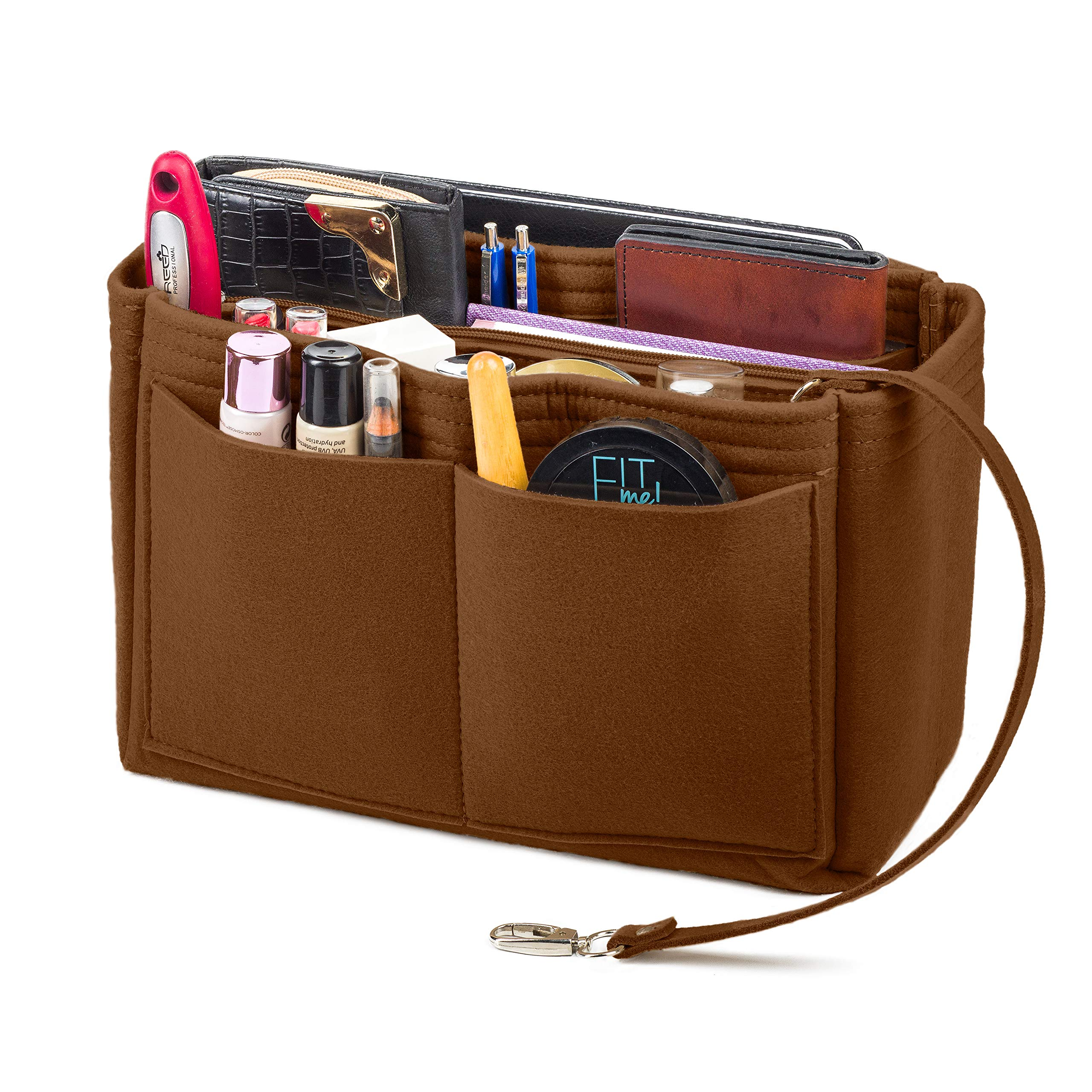 Purse Organizer Insert, Felt Bag Organizer with Zipper on Removable Handbag, Fits LV Speedy, Neverfull, Longchamp, Tote (Large, Light Coffee) by Lenox Trading Company