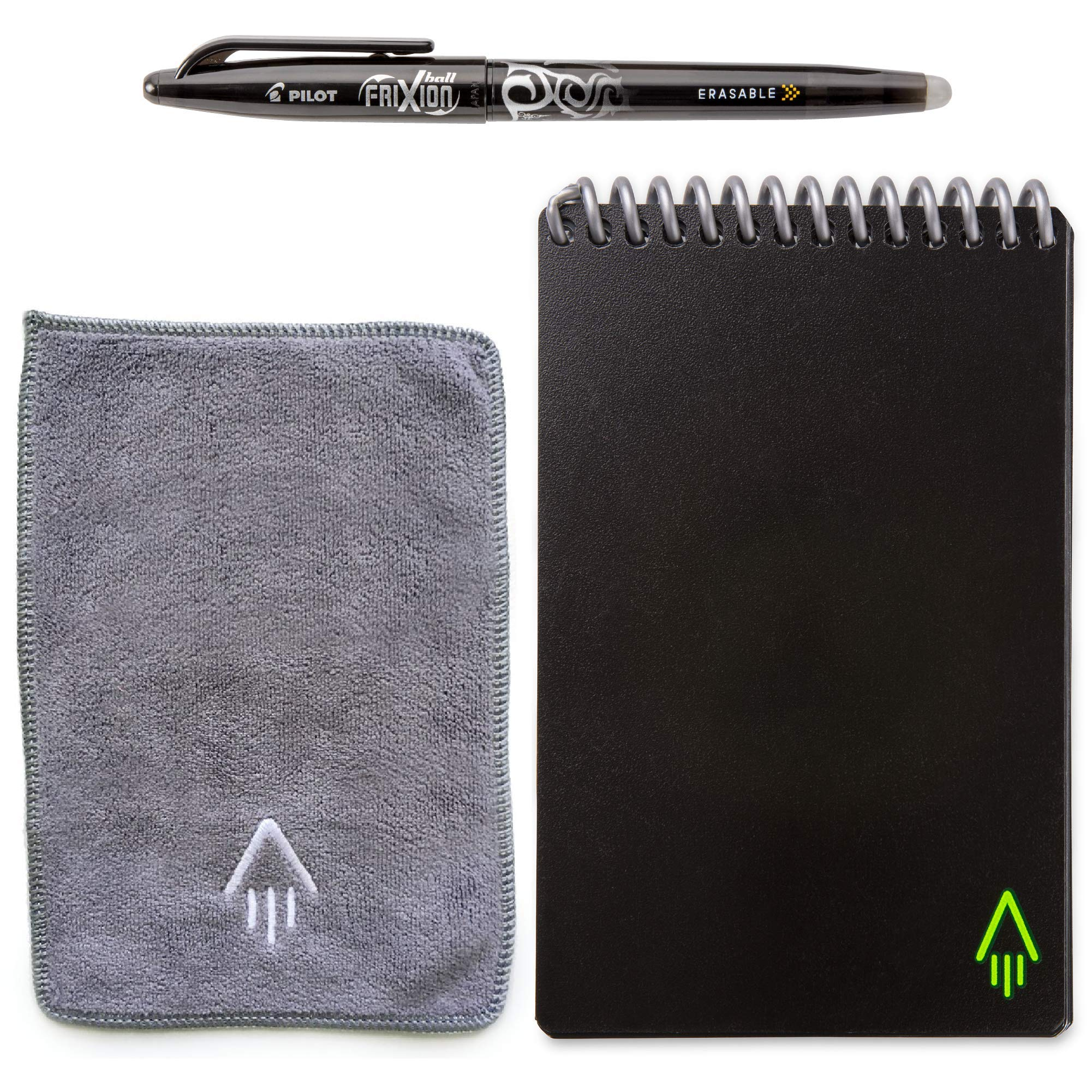 Rocketbook Everlast Smart Reusable Notebook - Dotted Grid Eco-Friendly Notebook with 1 Pilot Frixion Pen & 1 Microfiber Cloth Included - Infinity Black Cover, Mini Size (3.5'' x 5.5'') by Rocketbook