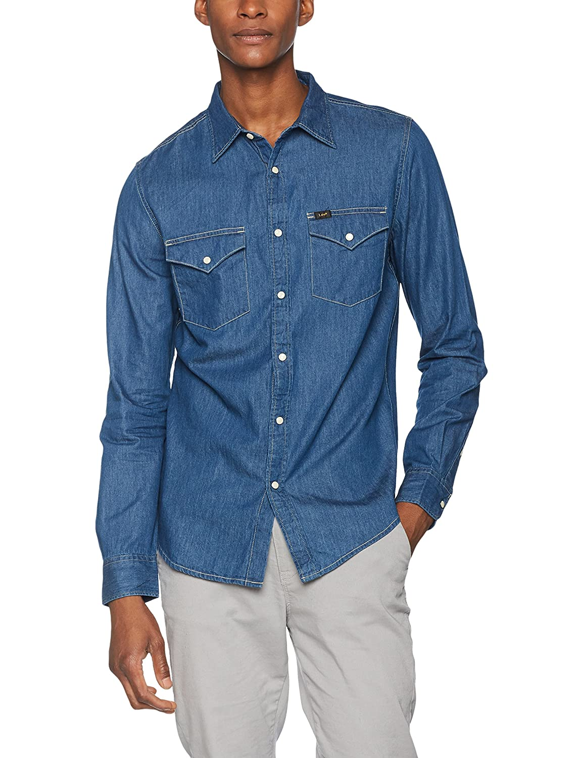 TALLA 42 centimeters (Talla del fabricante: Large). Lee Western Shirt Camisa para Hombre