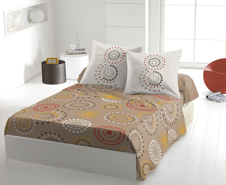 Multicolore 240x300 cm Home Passion Feu dartifice Taupe Set de 4 Parure de Drap Coton