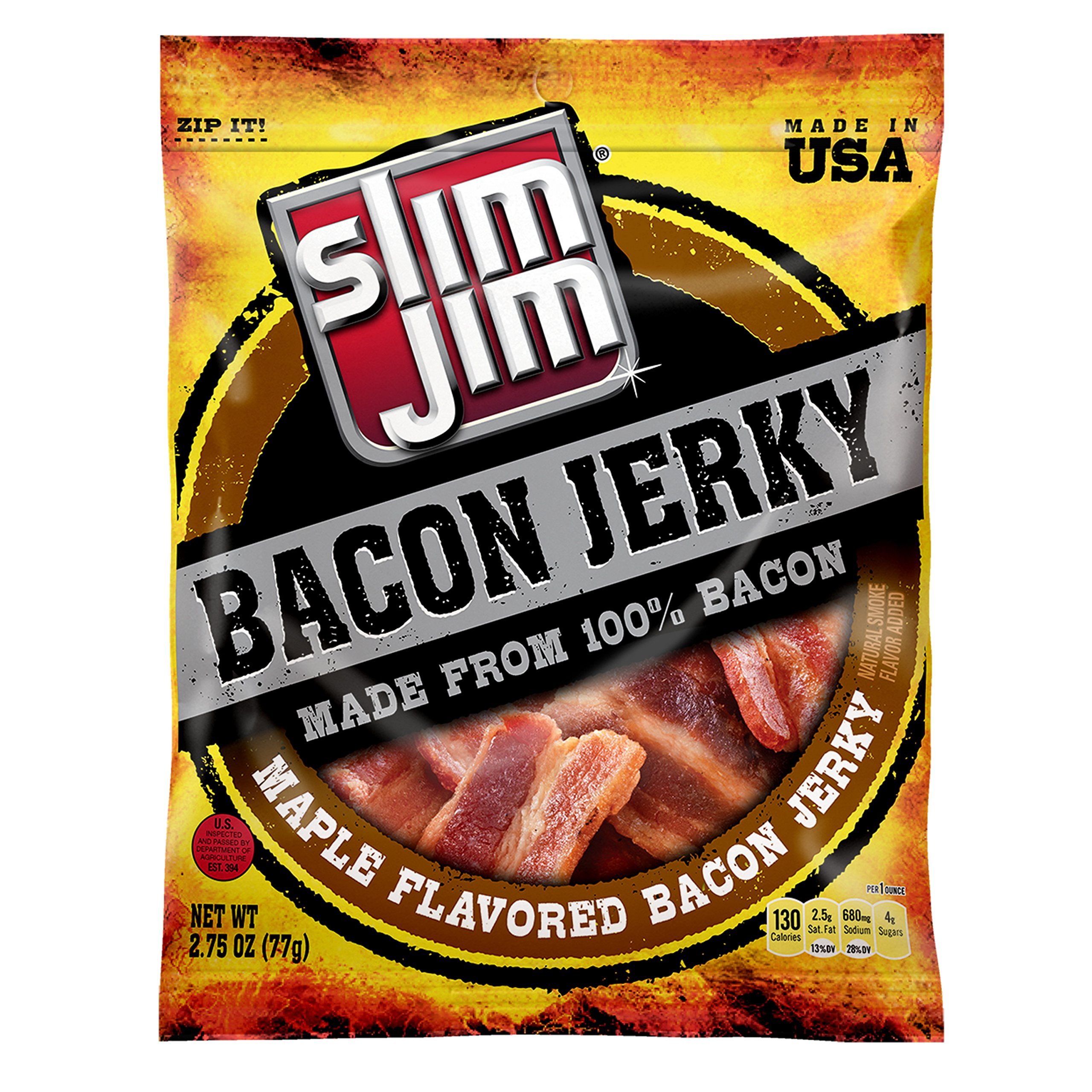 Slim Jim Bacon Jerky, Maple, 2.75-Ounce (Pack of 8)