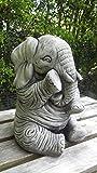 Garden Ornaments by Onefold Grand statue d'éléphant en pierre fabriquée à la main Idéal en décoration de jardin