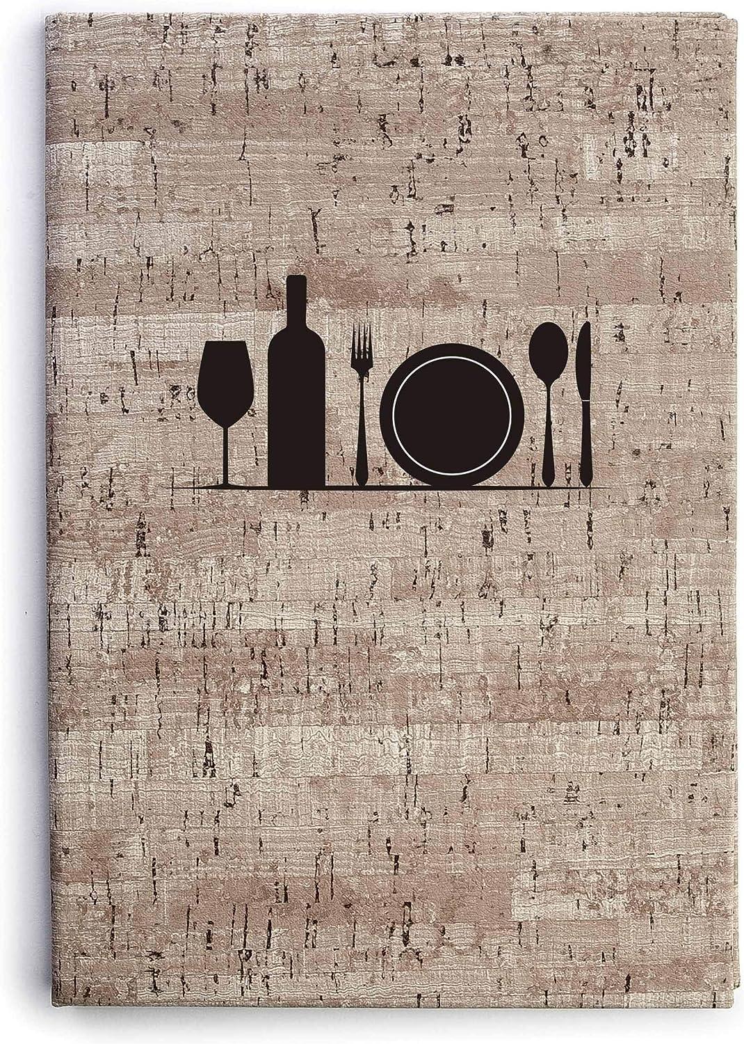 Termosellado en Color Negro Lacor Matisse Collection 28052 16x28,5 cm Porta men/ú Fabricado en Simil-Piel con Fundas fijas de PVC en Piel de Naranja