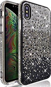 VenSen Glitter Bling Ultra Thin TPU Case for iPhone Xs Max Case Sparkle Diamond Full Cover Crystal Girl Women Phone Cover for XsMax (Black)