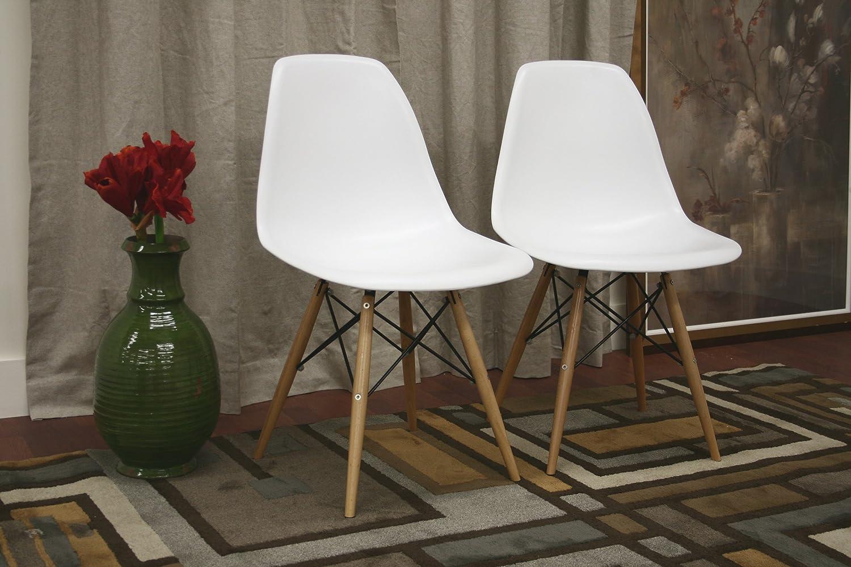 Amazon.com: Baxton Studio LAC Plastic Side Chair Set of 2: Kitchen ...