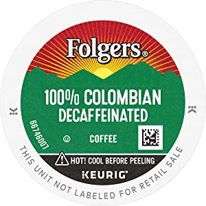 Folgers 100% Columbian Decaffeinated, Coffee K-cup Pods for Keurig Brewers, 12 Count