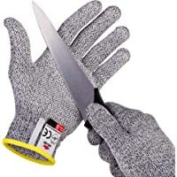 NoCry Cut Resistant Gloves with Grip Dots for Kids (8-12 years old) - High Performance Level 5 Protection, Food Grade. Free Ebook Included!
