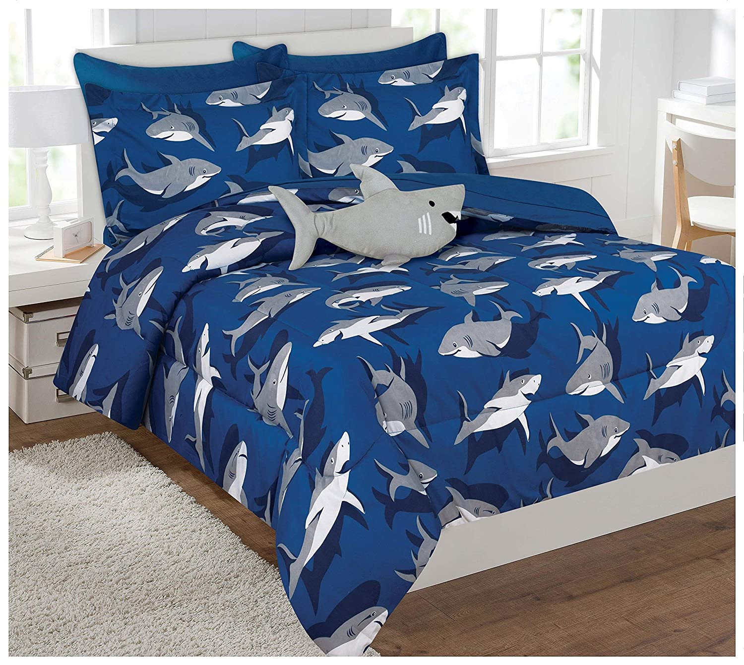 Twin & Full 6 Pcs or 8 Pcs Comforter/ Coverlet / Bed in Bag Set with Toy (Twin, Shark)
