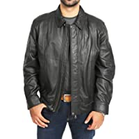 Mens Real Soft Leather Classic Bomber Style Blouson Jacket Jim Black
