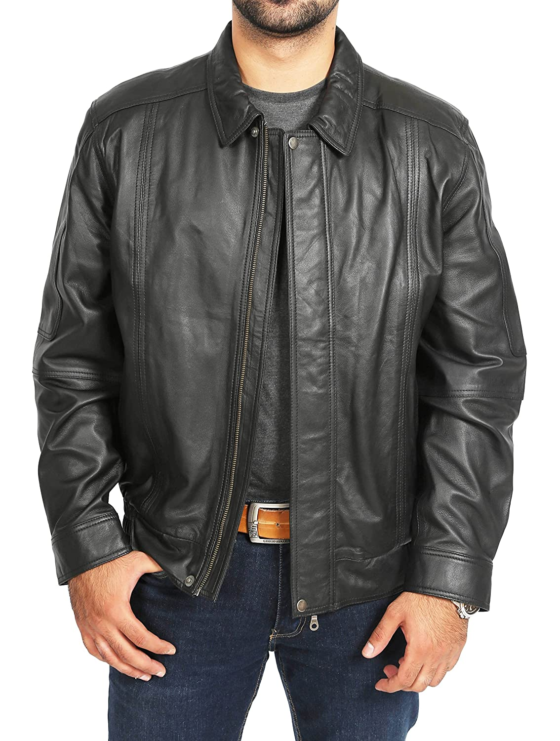 2972c1f35 Mens Leather Bomber Jacket Classic Fit Soft Zip Up Blouson Style Jim Black