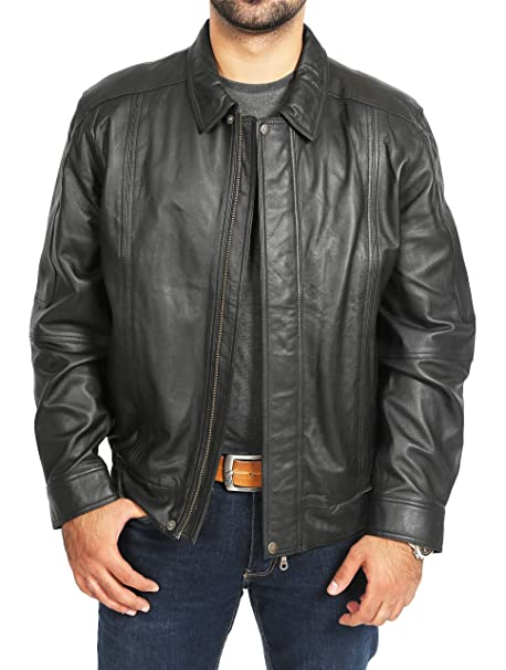 House Of Leather Hombre Cuero Suave Real Bomber Estilo Clásico Blouson Chaqueta Jim Negro (Small