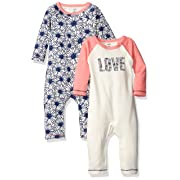 Touched by Nature Baby Organic Cotton Union Suit, Daisy 2Pk, 12-18 Months (18M)