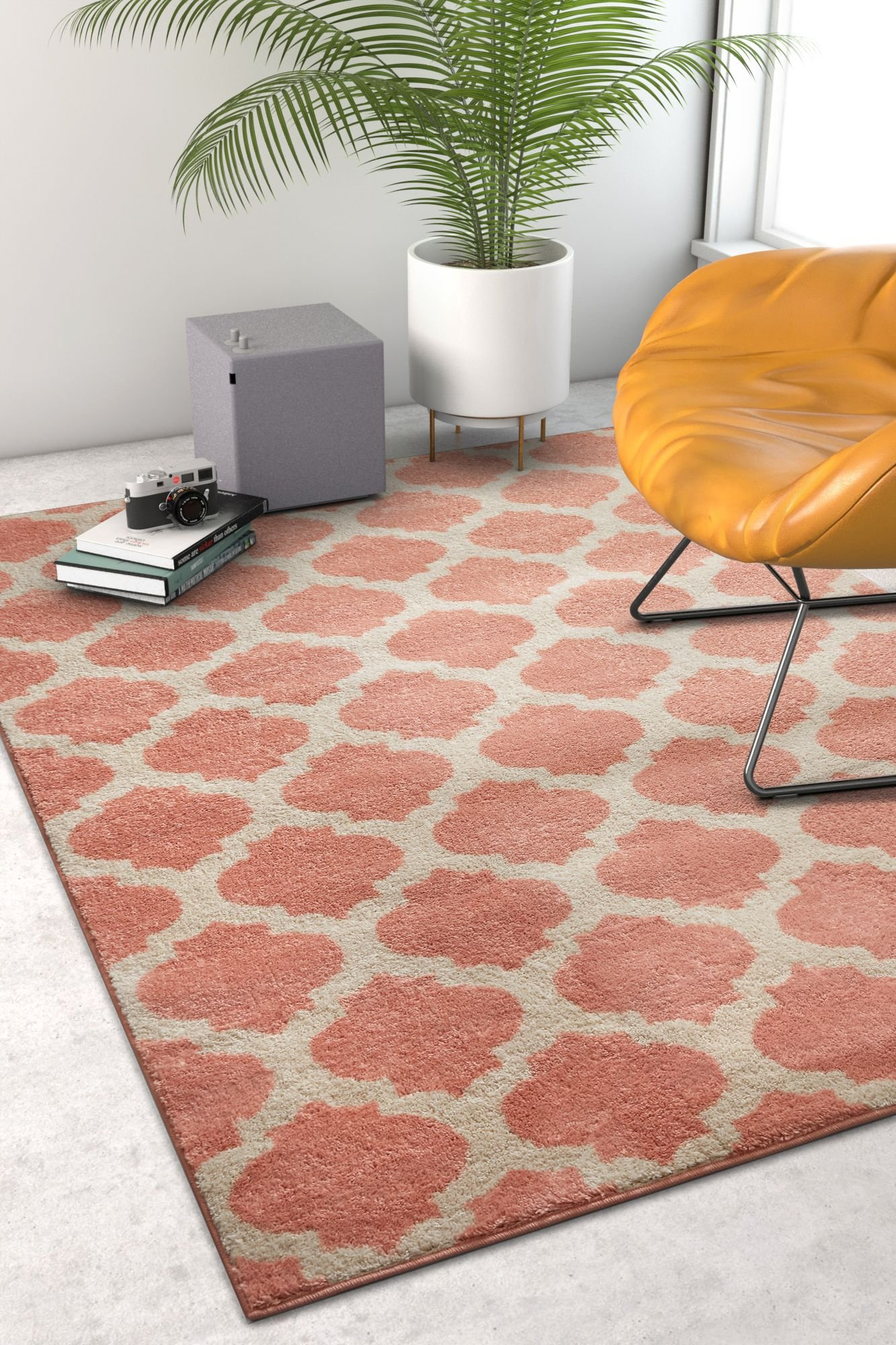 Tinsley Trellis Pink & Ivory Moroccan Lattice Modern Geometric Pattern 8x11 (7'10'' x 9'10'') Area Rug Soft Shed Free Easy to Clean Stain Resistant