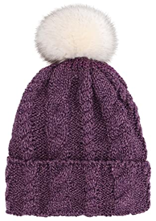 e9e32d54ce858 Arctic Paw Braided Heather Cable Knit Beanie Hat with Faux Fur ...