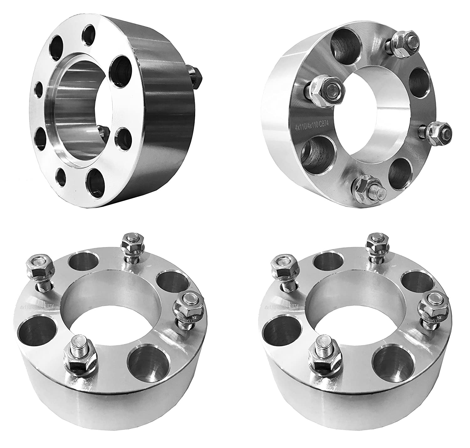 FAS Motorsports 4x110 Wheel Spacers 2' (50mm) (74mm bore, 10x1.25 Studs) for Suzuki Eiger King Quad Ozard Vinson, Yamaha Big Bear Grizzly Bruin Rhino, ATV, UTV (4Pcs)