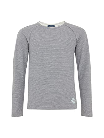 3dad6d635faa TOM TAILOR für Jungen Pullover   Strickjacken Gestreiftes Langarmshirt  medium Grey Melange, ...
