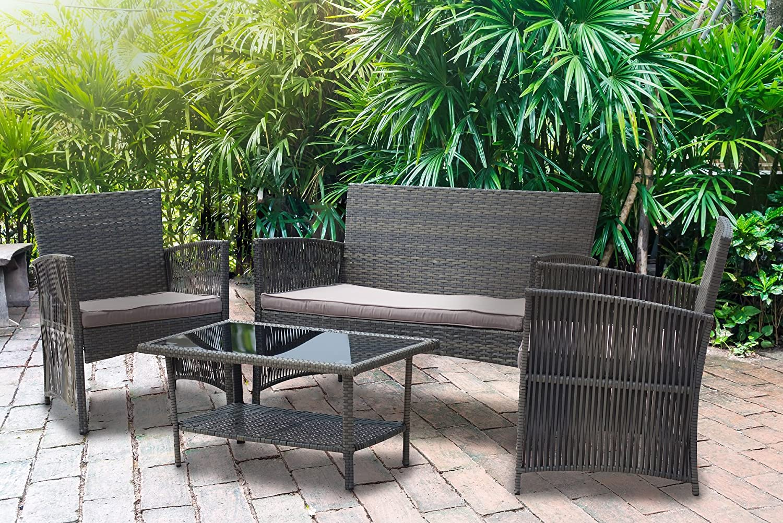 Amazon com ids online 16403 patio set 4 pcs gardne lounge love seat garden outdoor