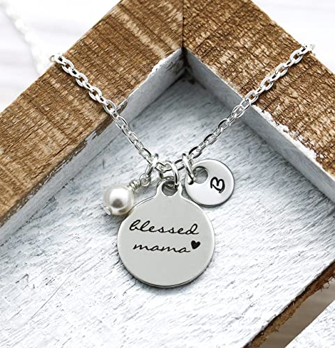 Blessed mom necklace hand stamped jewelry