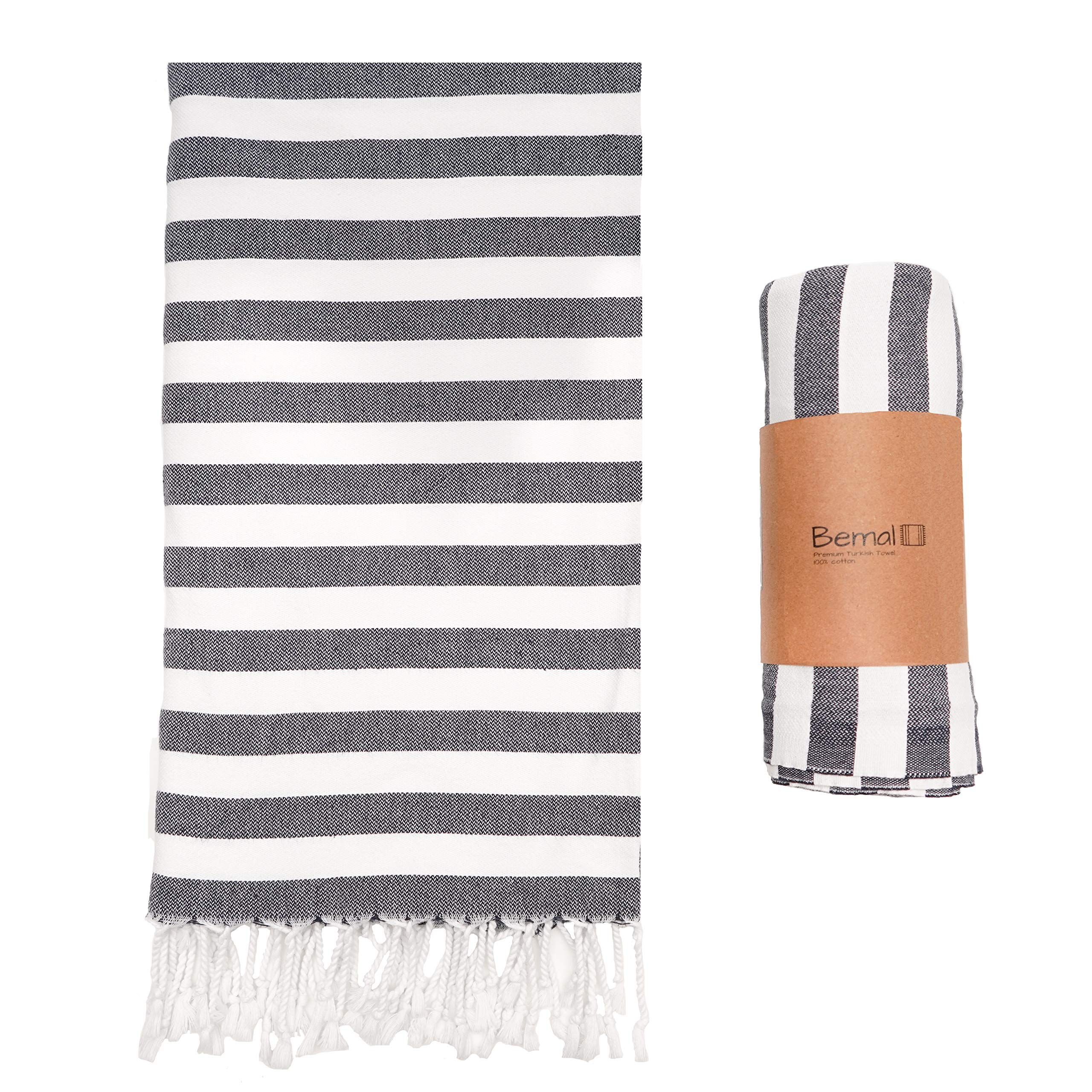 Bémal Turkish Beach Towel - Oversized 40 inches x 70 inches - Quick Dry & Compact - 100% Cotton - Suitable for Beach, Bath, Travel, Yoga, Pool (Anthracite Black, 1)