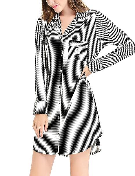 26e484bcf21 NORA TWIPS Women Sexy Sleepwear Nightshirt V Neck Nightdress Long Sleeve Nightgown  Nightie Loungewear Shirt Pajama Nightwear for Summer Spring  ...