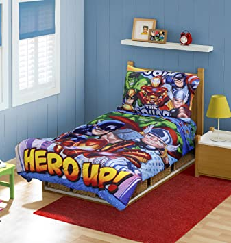 Beautiful Marvel Super Hero Squad Toddler Bedding 4pc Set, (Discontinued By  Manufacturer)