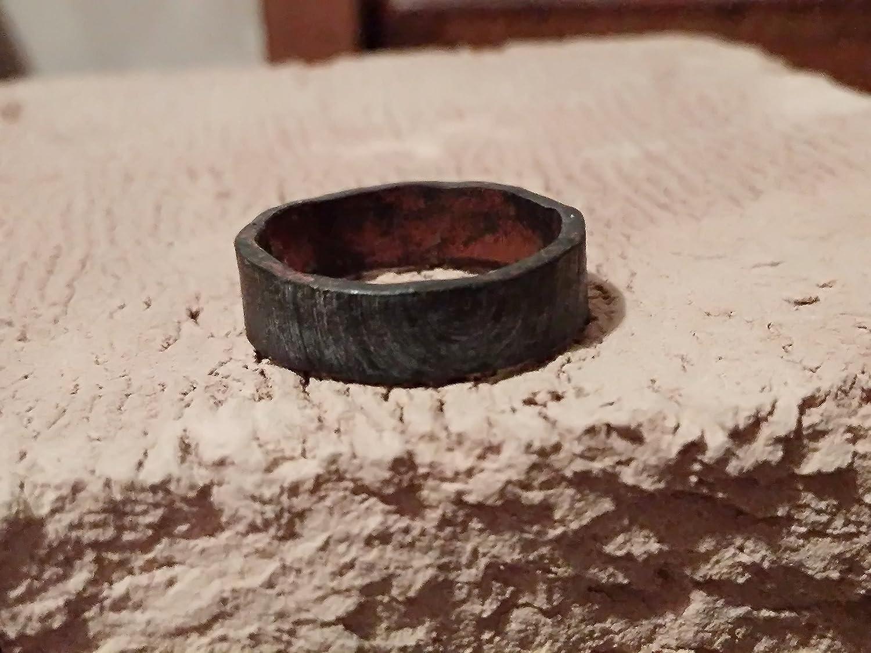 Wood Texture Black Mens Wedding Band Oxidized Custom Engraved Ring
