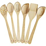 Healthy Cooking Utensils Set - 6 Wooden Spoons For Cooking – Natural Nonstick Hard Wood Spatula and Spoons – Uncoated…
