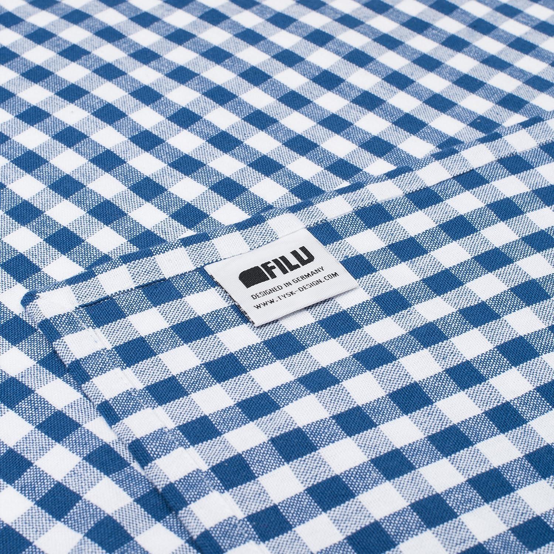 FILU Paños de cocina (8 unidades, azul / blanco) 50 x 70 cm paño de cocina / paño para vajilla de algodón 100 %, de cuadros elegante y teñido de alta ...