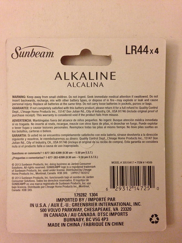 Amazon.com: LR44 Alkaline Battery replace 357 SG13 303 A76 EXP76 SR44 AG13 LR1154 SR44SW/W , Pack of 4 batteries: Health & Personal Care