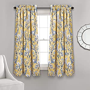 "Lush Decor Curtains Dolores Darkening Window Panel Set for Living, Dining Room, Bedroom (Pair), 63"" x 52"", Yellow and Blue"