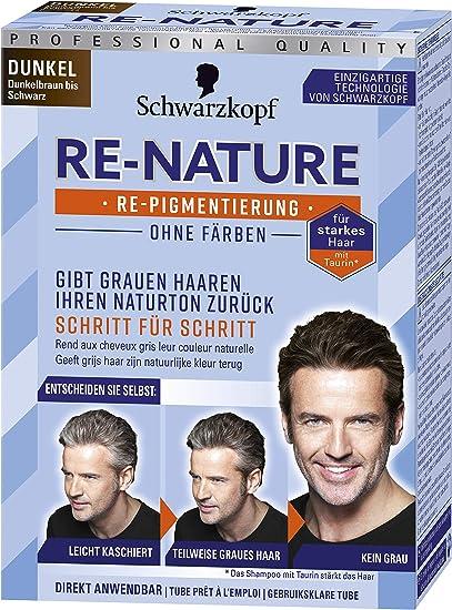 Schwarzkopf Re-Nature Re-pigmentation, Men Dark Step, 1 paquete, 2 x 50 ml de tinte para el cabello y 2 x 22.5 ml de champú