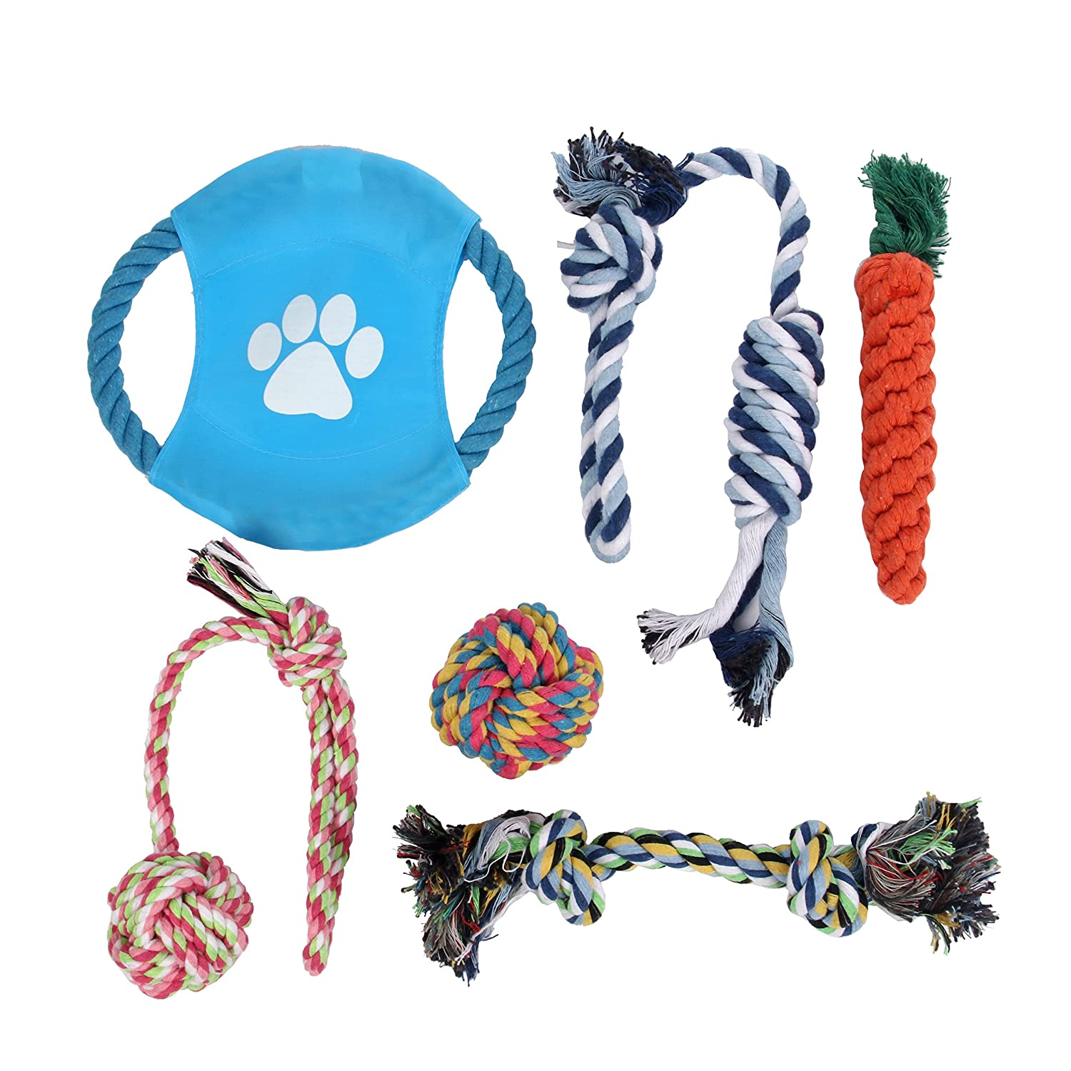Panda Ovi Dog Rope Toys,Frisbee Puppy Pet Play Chew and Training Toys Set of 6 Pack