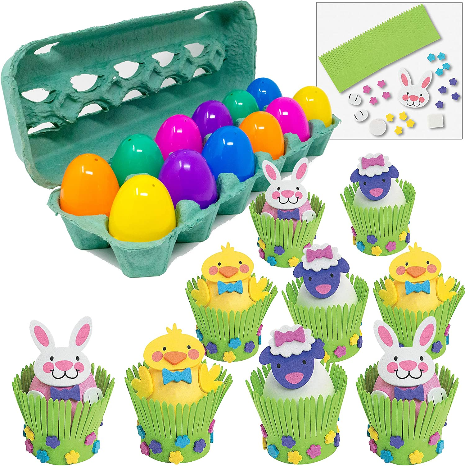 Max Fun Easter Stickers DIY Bunny Rabbit Chick Stickers Crafts Easter Party Supplies Favors Games for Kids Classroom Activities Easter Stickers 24 Pack